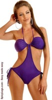 Purple Foil Dot Pucker Back Monokini