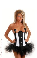 Circus Pin-Up Burlesque Underbust Corset and Pettiskirt