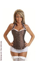 Brown Polka Dot Burlesque Corset