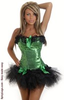 Sequin Burlesque Underwire Corset and Pettiskirt