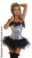 Silver Sequin Pin-Up Burlesque Corset and Pettiskirt