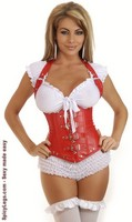 Red Vegan Leather Buckles Underbust Corset