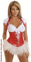 Red Vegan Leather Buckles Underbust Corset and Pettiskirt