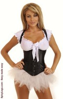 Black Satin Underbust Corset and Pettiskirt