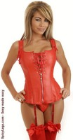 Red Vegan Leather Lace-Up Corset