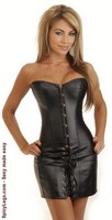 Black Vegan Leather Corset Dress