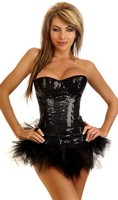 Sequin Underwire Zipper Corset and Pettiskirt