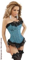 Floral Brocade Strapless Ruffled Corset