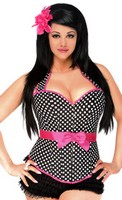 Plus Size Rockabilly Belted Halter Corset