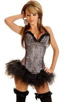 Gunmetal Floral Sparkle Corset and Pettiskirt