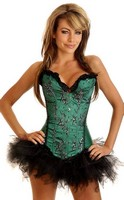Green Floral Sparkle Corset and Pettiskirt