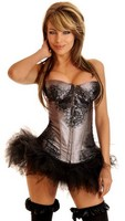Gunmetal Eyelash Lace Underwire Corset and Pettiskirt