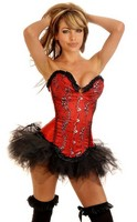 Red Floral Sparkle Corset and Pettiskirt