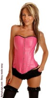Fuchsia Vegan Leather Corset