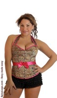 Plus Size Leopard Halter Pin-Up Burlesque Corset