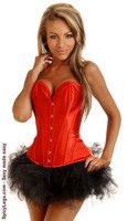 Red Strapless Steel Boned Corset and Pettiskirt