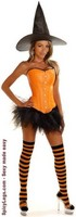 4 PC Orange Pin-Up Witch Costume