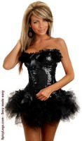 Black Burlesque Underwire Corset and Pettiskirt