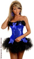 Blue Burlesque Underwire Corset and Pettiskirt