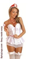 3 PC White Nurse Corset Costume