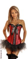Red Rhinestones Strapless Corset and Pettiskirt