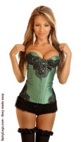 Emerald Eyelash Lace Underwire Corset