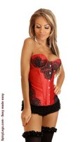 Red Eyelash Lace Underwire Corset