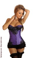 Purple Eyelash Lace Underwire Corset