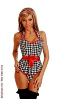 Pin-Up Houndstooth Halter Top Corset