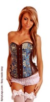 Brocade and Vegan Leather Strapless Corset