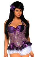 Sequin Embroidered Underwire Halter Corset