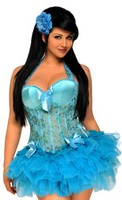 Sequin Embroidered Underwire Halter Corset and Pettiskirt