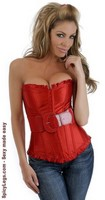 Strapless Ruffled Belted Corset