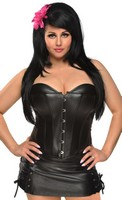 Plus Size Vegan Leather Corset and Skirt Set