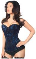 Lavish Blue Lace Front Zipper Corset
