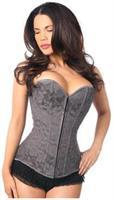 Lavish Dark Grey Lace Overbust Corset w/Zipper