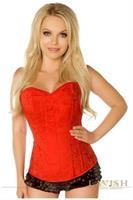 Lavish Red Brocade Side Zipper Corset