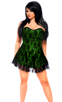 Lavish Plus Size Green Lace Corset Dress