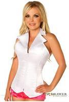 Lavish White Collared Front Zipper Corset