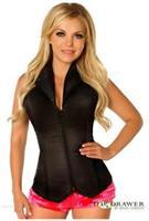 Lavish Black Collared Front Zipper Corset