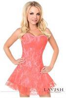 Lavish Coral Lace Corset Dress