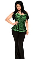 Top Drawer Plus Size Green Lace Steel Boned Corset Top
