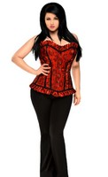 Top Drawer Plus Size Red Lace Steel Boned Corset Top