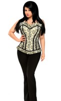 Top Drawer Plus Size Ivory Lace Steel Boned Corset Top