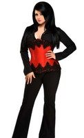 Top Drawer Red Beaded Underbust Steel Boned Corset Top