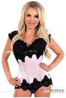 Top Drawer Ivory Beaded Underbust Steel Boned Corset
