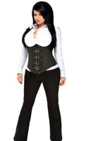Top Drawer Plus Size Steel Boned Pinstripe Corset Top With Buckling