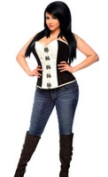 Top Drawer Plus Size Brocade Steel Boned Corset Top with Buckles