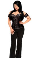 Top Drawer Plus Size Black Steel Boned Molded Cup Sequin Corset Top