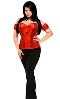 Top Drawer Red Steel Boned Molded Cup Sequin Corset Top
